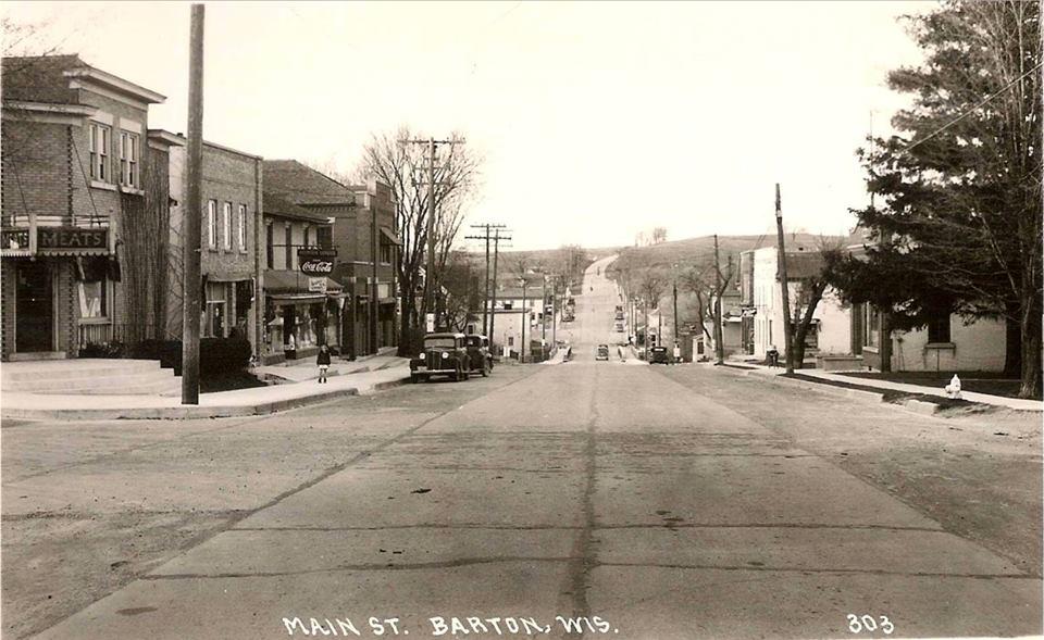 Circa 1940 Frank's Meat Market, Pfeiffer's General Store,  Marv'd Drug Store, Kapfer & Gehl Furniture Funeral Home